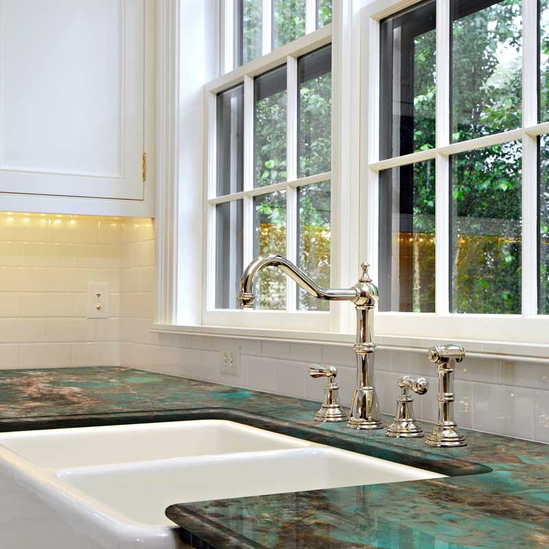 Azul Imperiale kitchen counters with Full Height Backsplash